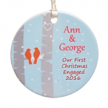 Birds Ceramic Christmas Tree Decoration - Personalised Christmas Tree Ornament